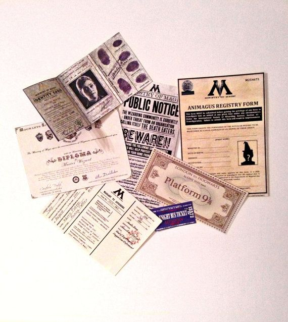 7 Piece Ministry of Magic issued Documentation set inc Hogwarts train ticket and Knight Bus ticket. FREE P&P ( 2 weeks only )