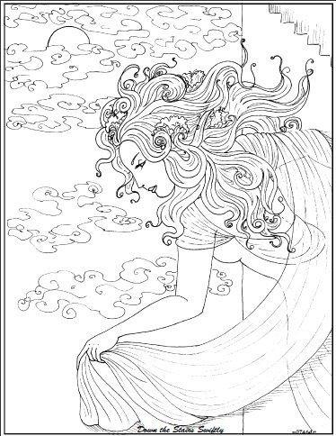 jugendstil-ausmalbilder - schönes mädchen - 742 | umrisszeichnungen