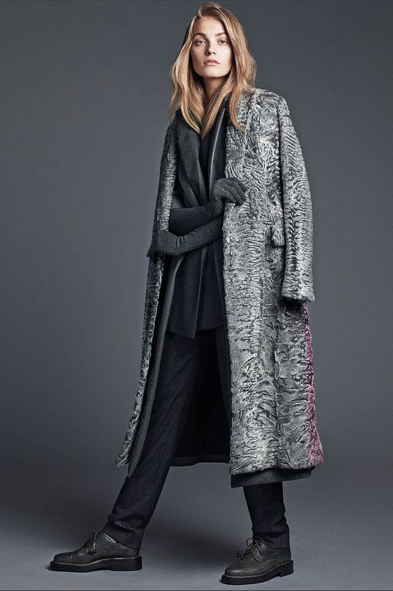 Dior astrakhan coat, <em>$43,000, available by special order,</em> wool coat, <em>$5,300,</em> vest, <em>$3,600,</em> and pants, <em>$1,350, all 800-929-DIOR,</em> and Dolce & Gabbana gloves, <em>$525, select DG boutiques</em>