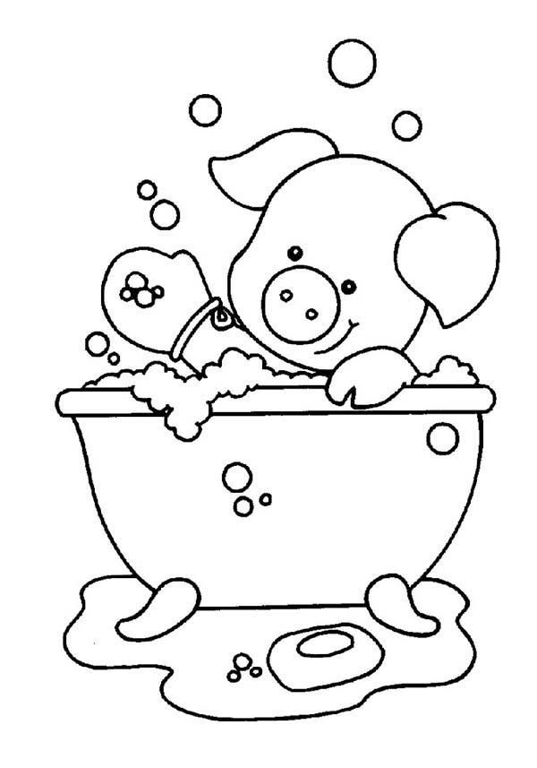 Piggy Playing Soap While Take A Bath Coloring Pages Coloring Books Curious George Coloring Pages Coloring Pages