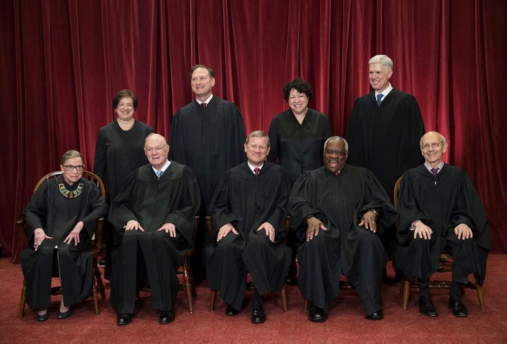 The justices of the U.S. Supreme Court gather for an official group portrait to include new Associate Justice Neil Gorsuch, top row, far right, on June 1 at the Supreme Court Building in Washington, DC. Seated, front row, from left are Associate Justice Ruth Bader Ginsburg, Associate Justice Anthony M. Kennedy, Chief Justice of the United States John Roberts, Associate Justice Clarence Thomas, and Associate Justice Stephen Breyer. Back row, standing, from left are Associate Justice Elena…