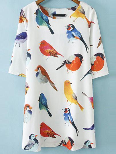 White Half Sleeve Birds pattern Random Loose Dress -SheIn(Sheinside) Mobile Site