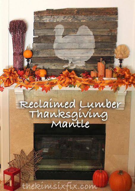 Thanksgiving Mantle Featuring Reclaimed Lumber Turkey Silhouette via www.TheKimSixFix.com