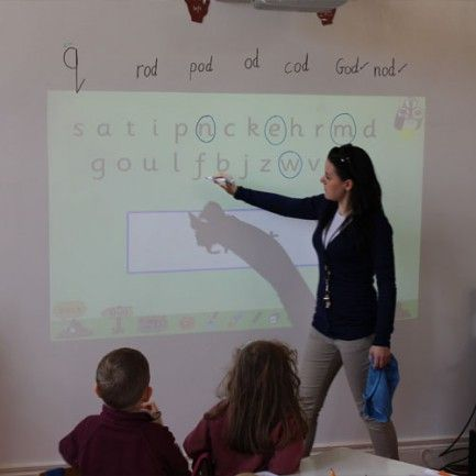 Smart projector screen paint being used by a teacher for interactive learning