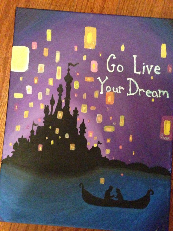 Go Live Your Dream Tangled Boat Scene Disney Canvas Art Disney Canvas Paintings Disney Paintings