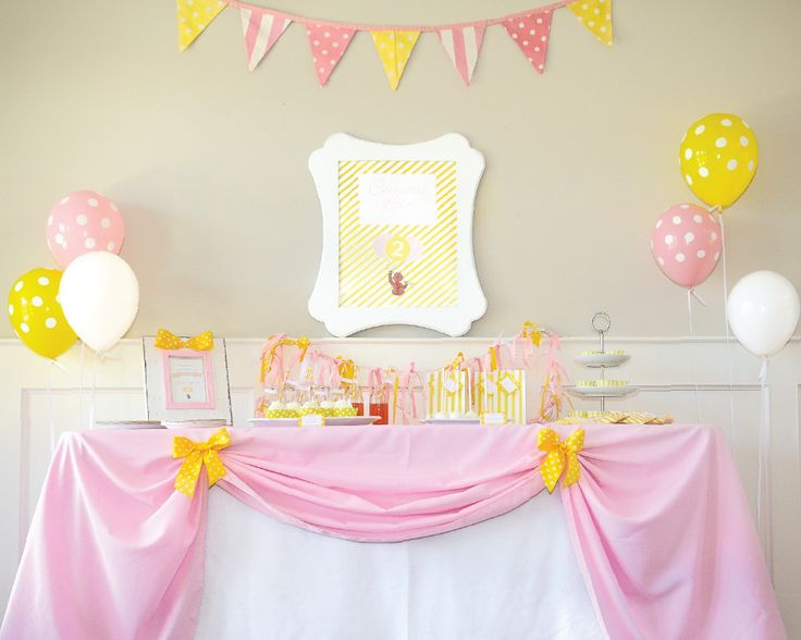 Inspired by one of our favorite little monkeys to celebrate your curious little monkey. A fresh twist on the traditional colors, pink and yellow are used to portray a softer touch that any girl will l