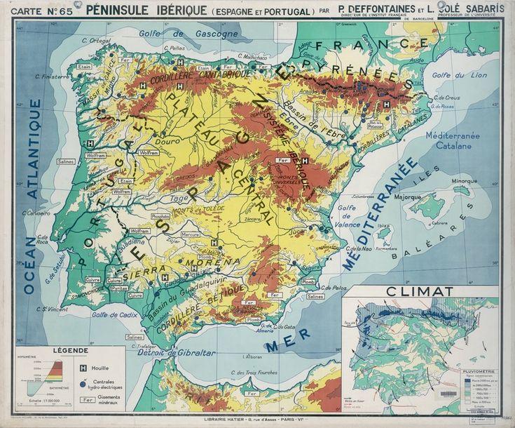 Péninsule ibérique : carte physique