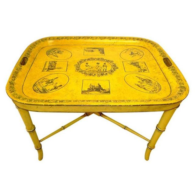 Antique tole tea table in yellow with black pattern