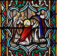 Pope Urban II - A 19th-century stained-glass depiction of Urban receiving St Anselm, exiled from England by William the Red amid the Investiture Controversy.