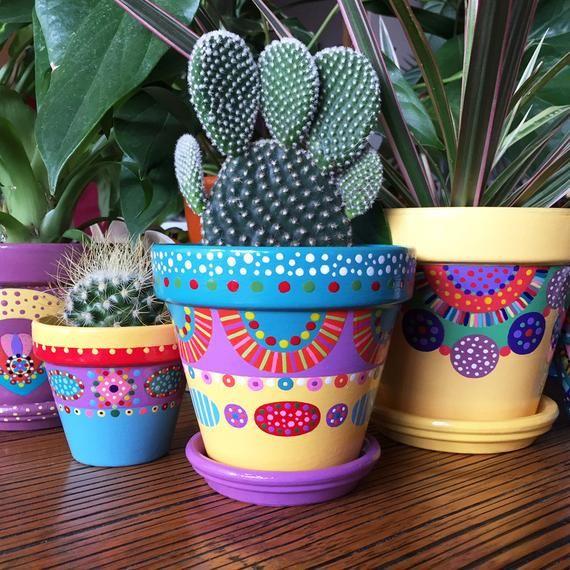 Pot De Fleurs Pour Petites Plantes Painted Flower Pots Painted Pots Diy Painted Plant Pots