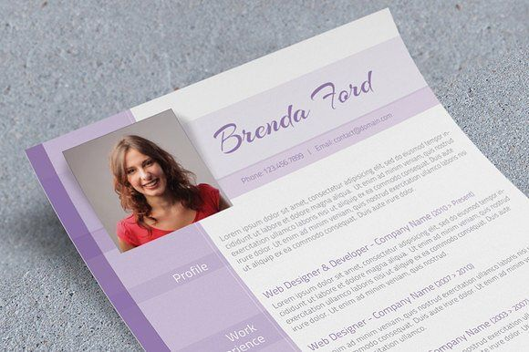 Purple CV Template by Visual Impact on @creativemarket