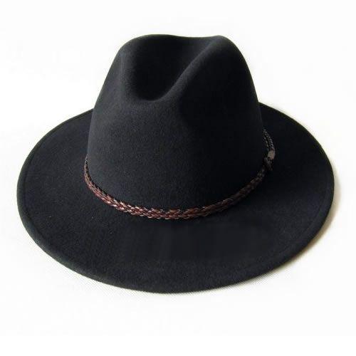 Black Wool Dress Western Cowboy Fedora Hat for Men SKU-159029