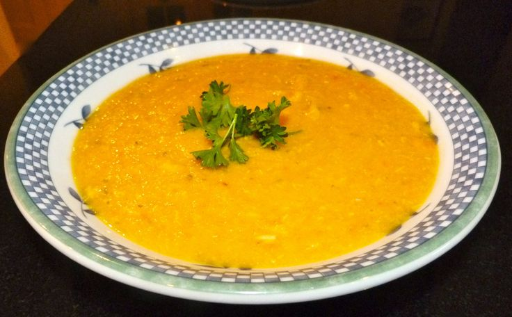 Ingredients 1 kg pumpkin or butternut squash cut into 1 cm cubes 3 medium onions chopped 3 fat cloves garlic finely chopped 2 seasoning peppers finely chopped 1 green chilli pepper finely chopped 1 stalk celery chopped 350 g breadfruit (or sweet potato) cut into 1 cm cubes 100g (1/2 cup) red lentils 180 g (3 medium) carrot coarsely chopped 1 litre water 2 tbsp olive oil salt and pepper 2 chicken breasts cut into 1 cm cubes (eliminate for vegetarian and vegan option)