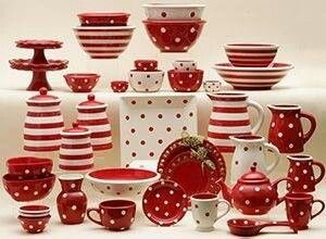 57 Beautiful Christmas Dinnerware Sets Dishes table setting serving pieces in polka dots u0026 stripe combo - comes in ALL colors too! & 302 best red polka dots images on Pinterest | Red kitchen Dish sets ...