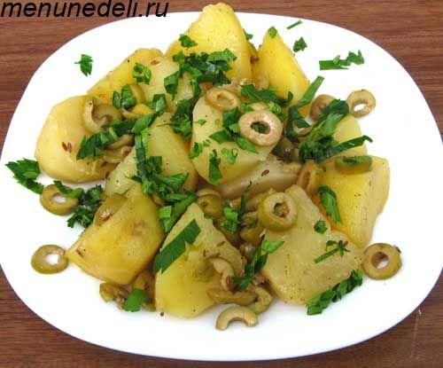 Картофель тушеный с оливками и лимоном