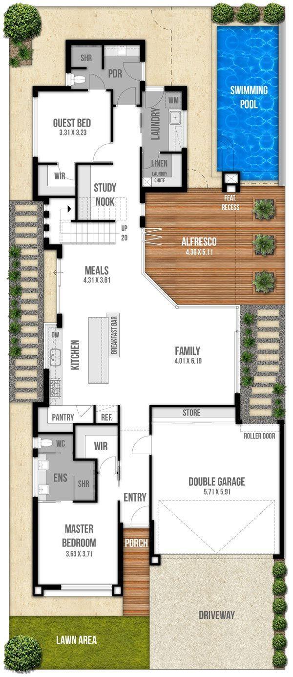Einrichtung wohnen schmale viel hauspläne erdgeschoss perth kleine häuser home pläne haus design grundrisse