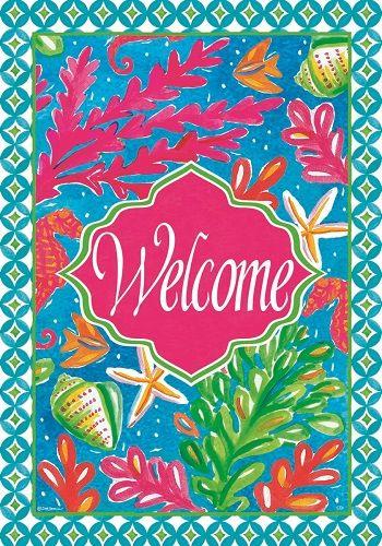 Custom Decor Flag   Tropical Welcome Decorative Flag At Garden House Flags