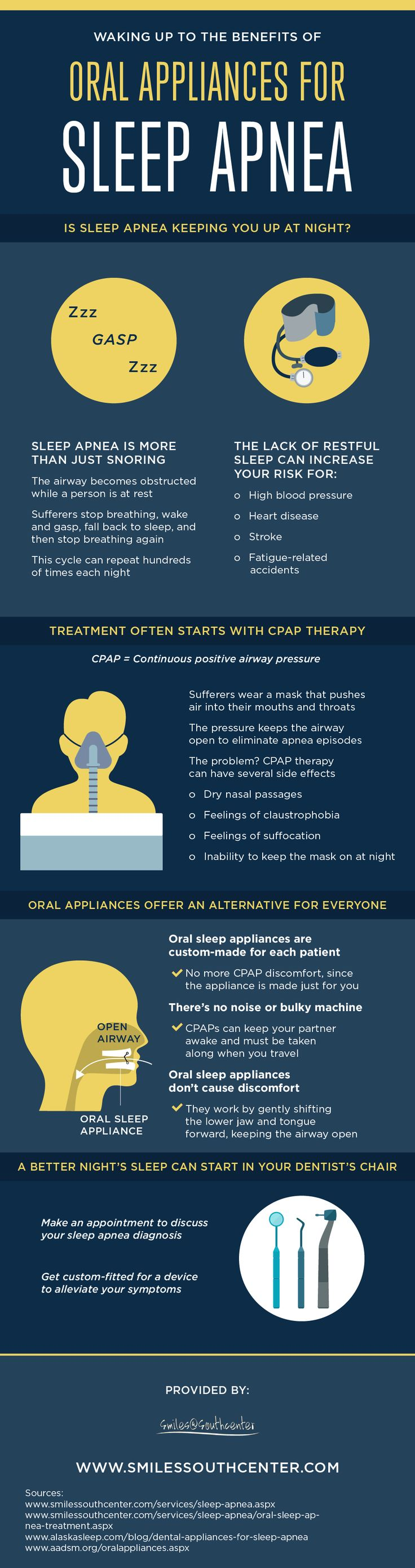 Oral appliances can be custom-made to help treat the symptoms of sleep apnea. View this infographic to learn all about the benefits that oral appliances can offer! #dentistry
