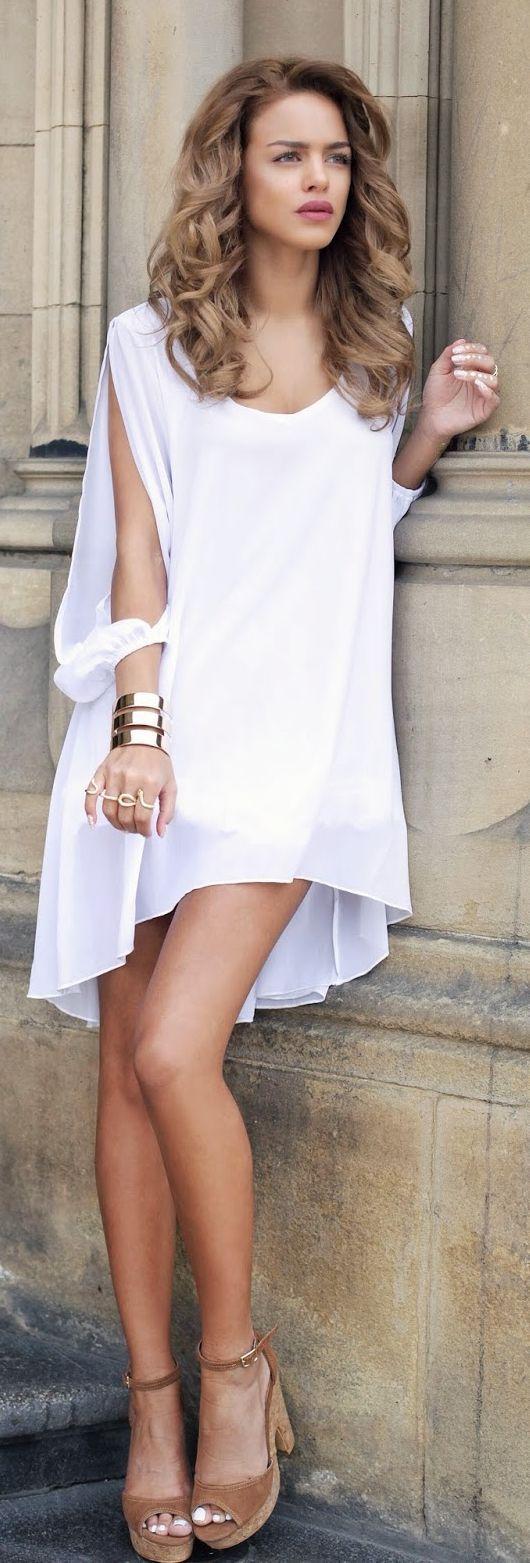 So soft & elegant! White Shift Dress Princess Style by Nada Adellè