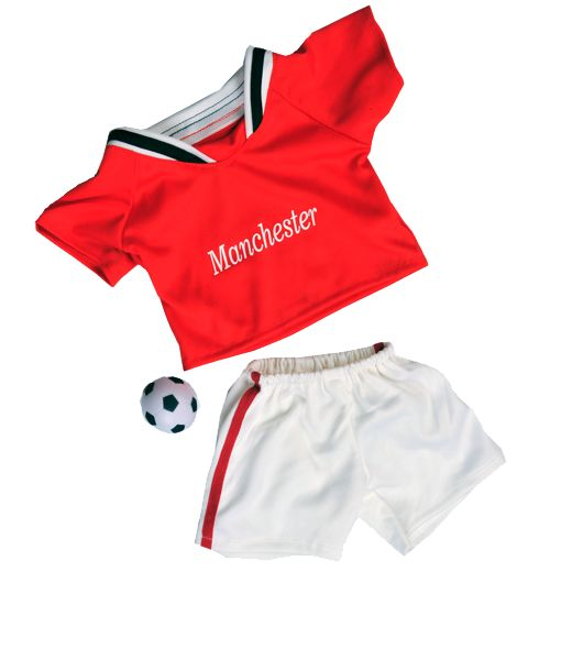 Support your team! Clothe your teddy bear in this Manchester Supporters Soccer Kit.  It fits Build a Bear and Teddy Mountain plush toys.