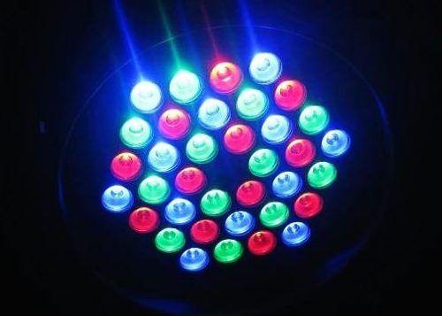 Foto de efeitos de iluminação: Canhão PAR64 LED 3W RGB DMX Áudio-Rítmico