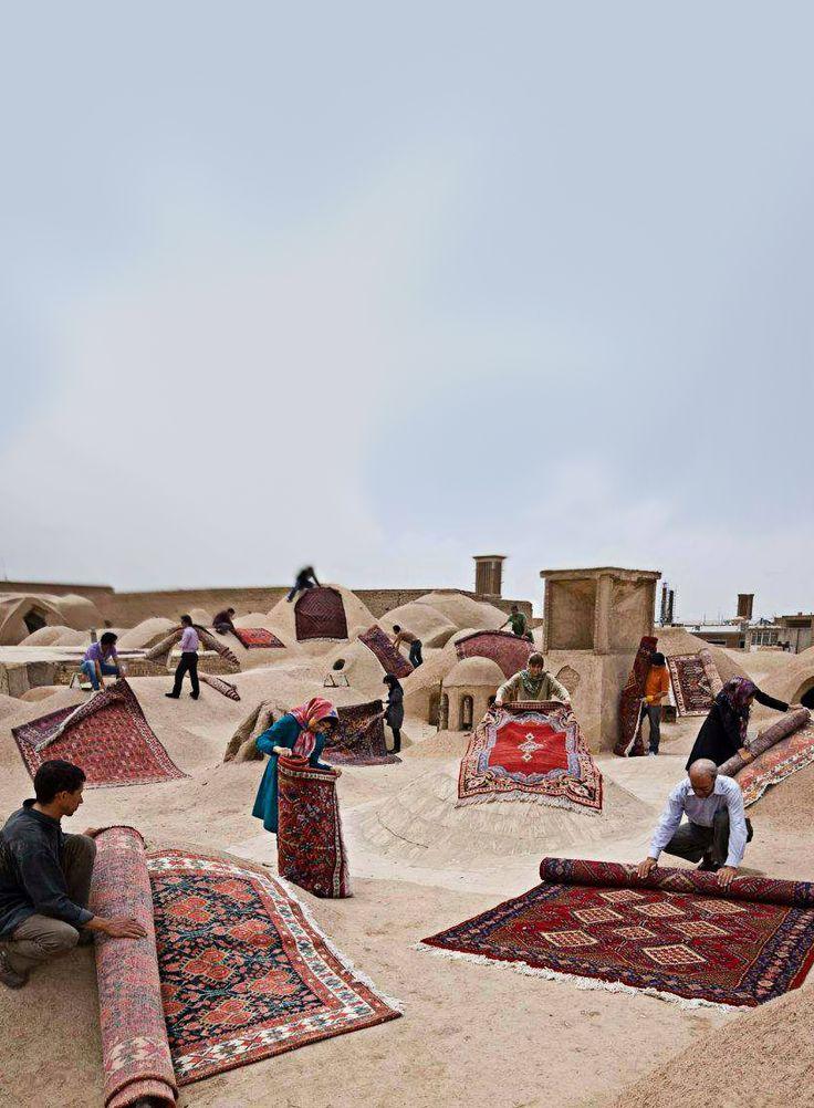 ♥ Iranian Carpets on the Roof , Yazd, IRAN Iran Traveling Center irantravelingcent... #iran #tehran #travel