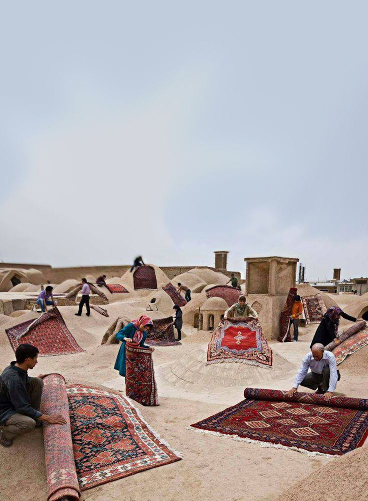 ♥ Iranian Carpets on the Roof , Yazd, IRAN Iran Traveling Center irantravelingcent... #iran #tehran #travel