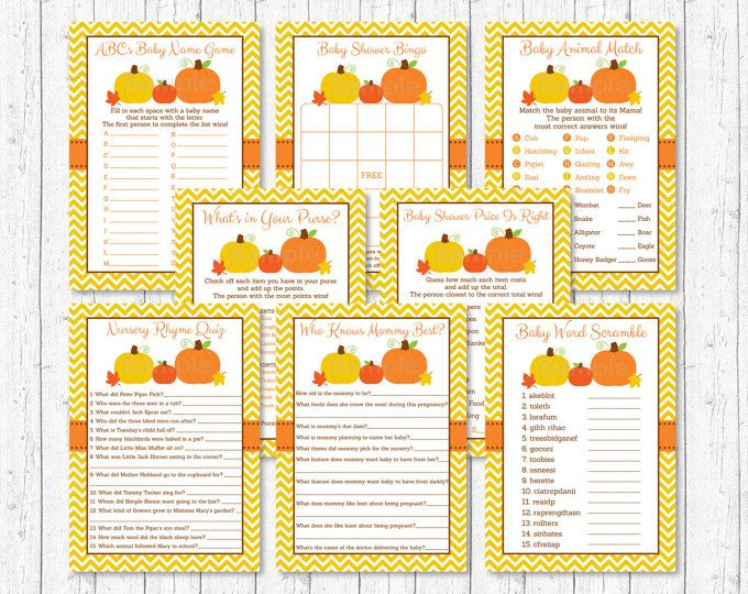 Pumpkin Baby Shower Games Package / 8 Printable Games / Pumpkin Baby Shower Shower / Gender Neutral Pumpkin / INSTANT DOWNLOAD A105
