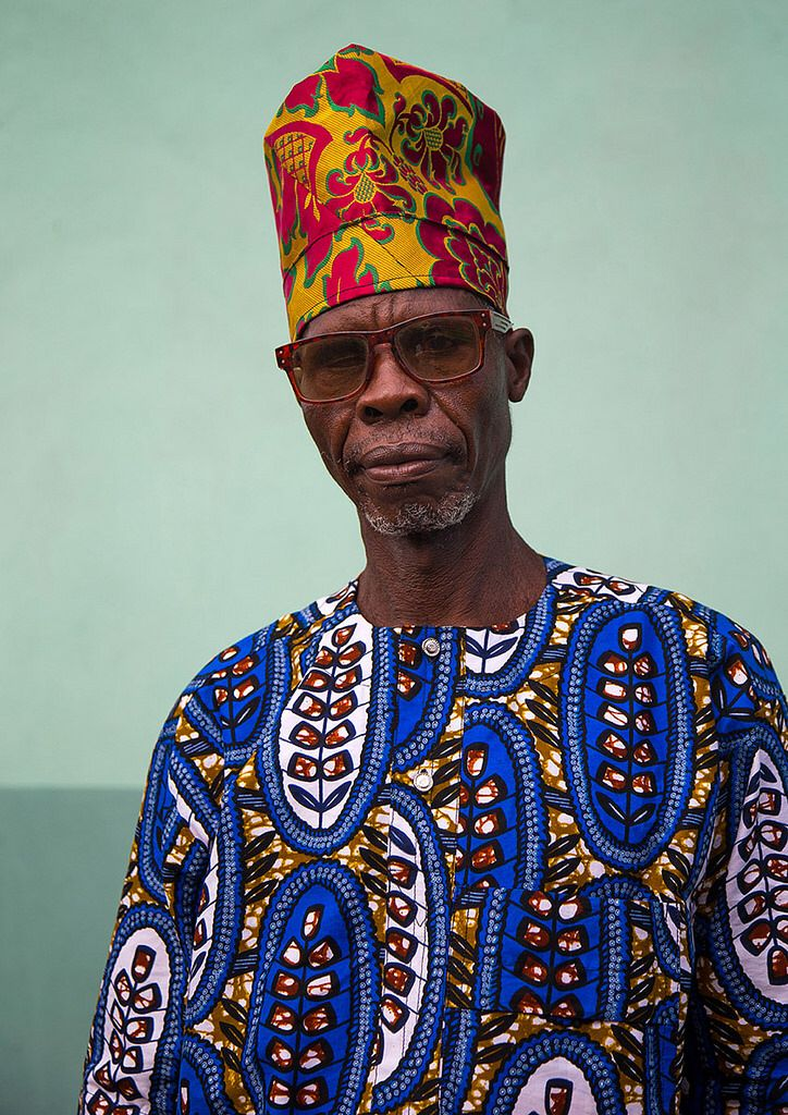 Benin West Africa Ganvie Fashionable Old Man In Traditional Beninese Clothing