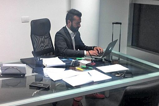 Marco Pinotti in sede Wision55 a Verona