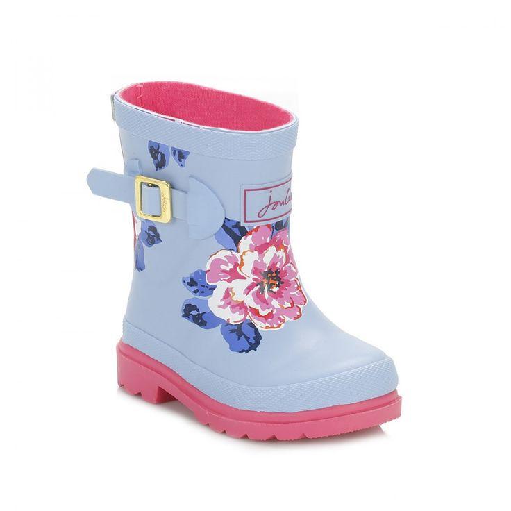 Joules Infants Sky Blue Floral Wellington Boots