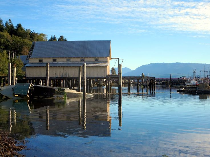 This old boathouse overlooks the small boat harbor on Rough Bay at Sointula on Malcolm Island, British Columbia, Canada.
