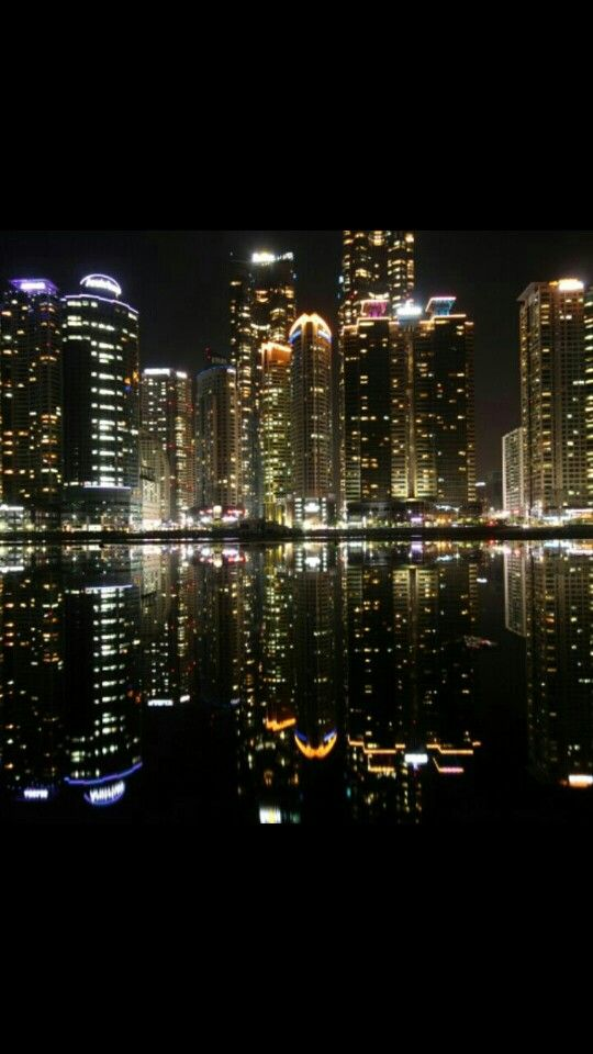 Night view of Haeundae in Busan Korea