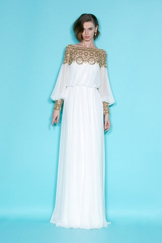 Marchesa Resort 2012 Gold Embroidered Longsleeve Gown