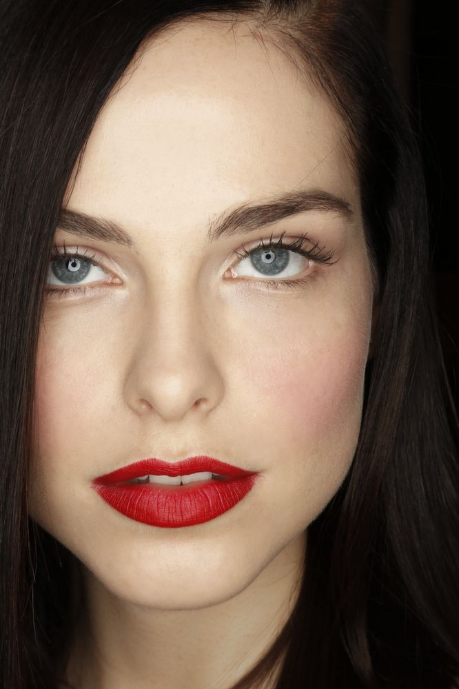 Red, opaque lips