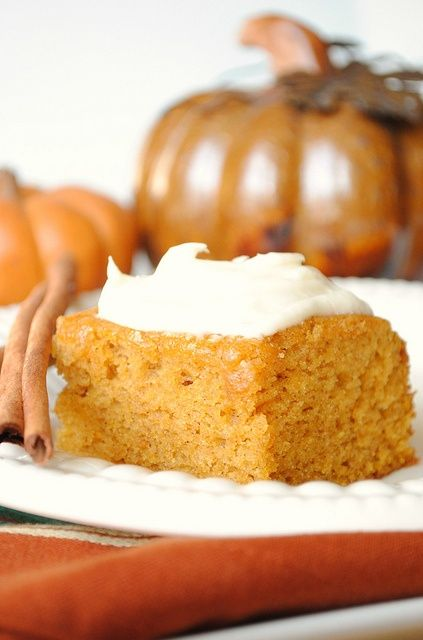Pumpkin bars with cream cheese frosting    Ingredients:    Bars  4 eggs  1 2/3 cups sugar  1 cup canola oil  1 can (15 ounces) pumpkin  2 cups all-purpose flour  2 teaspoons baking powder  2 teaspoons ground cinnamon  1 teaspoon salt  1 teaspoon baking soda  Frosting  1 package (8 ounces) cream cheese, softened  1/2 cup (1 stick) butter, softened: Desserts, Cream Cheese Frostings, Frostings Recipe, Pumpkin Cakes, Pumpkin Recipe, Baking Sodas, Cream Chee Frostings, Pumpkin Bar, Cream Cheeses