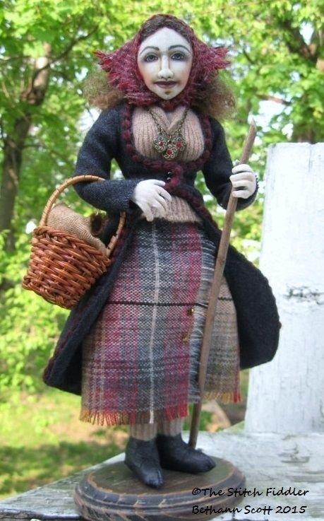"""Textile Art Doll """"The Traveler"""" by Bethann Scott ©2015."""