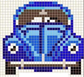 Small Volkswagen bug chart for cross stitch, knitting, knotting, beading, weaving, pixel art, and other crafting projects.