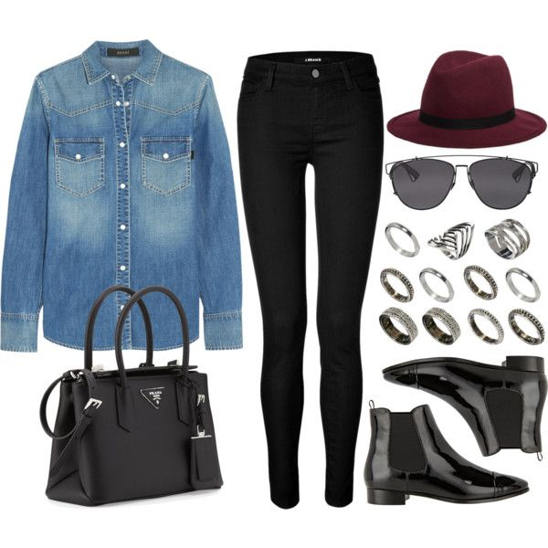 Style #9290 by vany-alvarado on Polyvore featuring polyvore, fashion, style, Gucci, J Brand, Prada, ASOS, Hat Attack and Christian Dior
