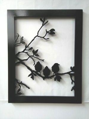 Lukisan Abstrak Hiasan Dinding 3D Siluet Burung 3D 001