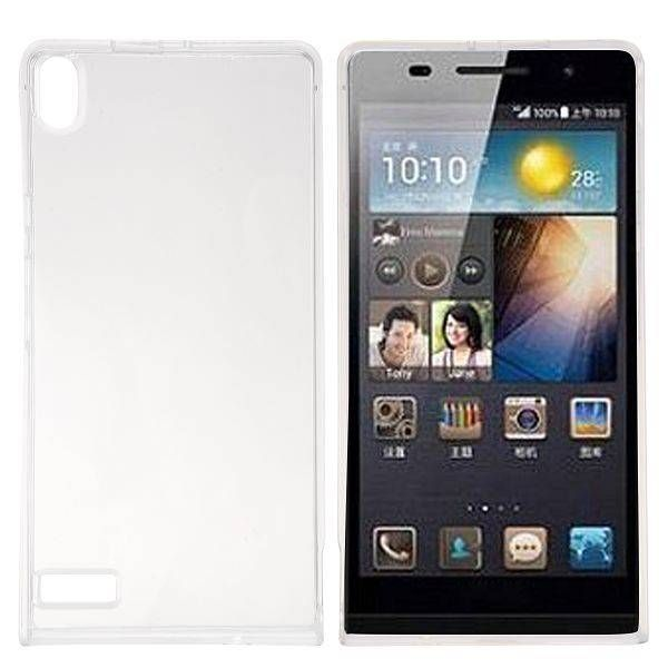 Transparant / wit TPU hoesje voor Huawei Ascend P6