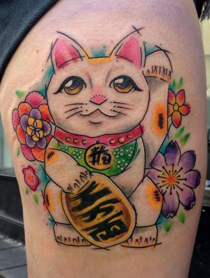 Lucky cat by Jessi James @ the Black Rabbit Tattoo Collective. Newbury, UK