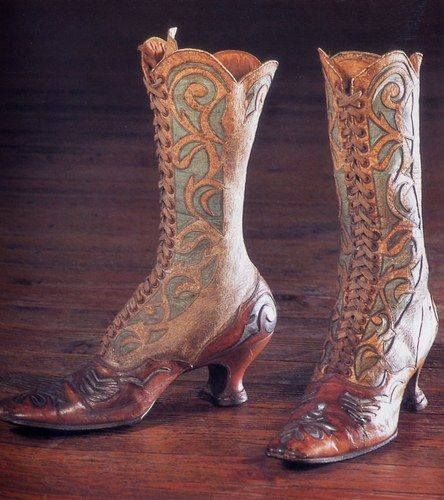 """Hand tooled leather boots, c. 1870, featured in the 2008 exhibition """"HEIGHTS OF FASHION: A HISTORY OF THE ELEVATED FOOT"""" at the Esplanade Museum [Alberta, Canada]. Image posted via http://www.wornthrough.com"""
