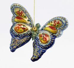 Motyl zdobiony - niebieski - Polskie bombki ręcznie malowane - sklep z ozdobami choinkowymi Komozja Family