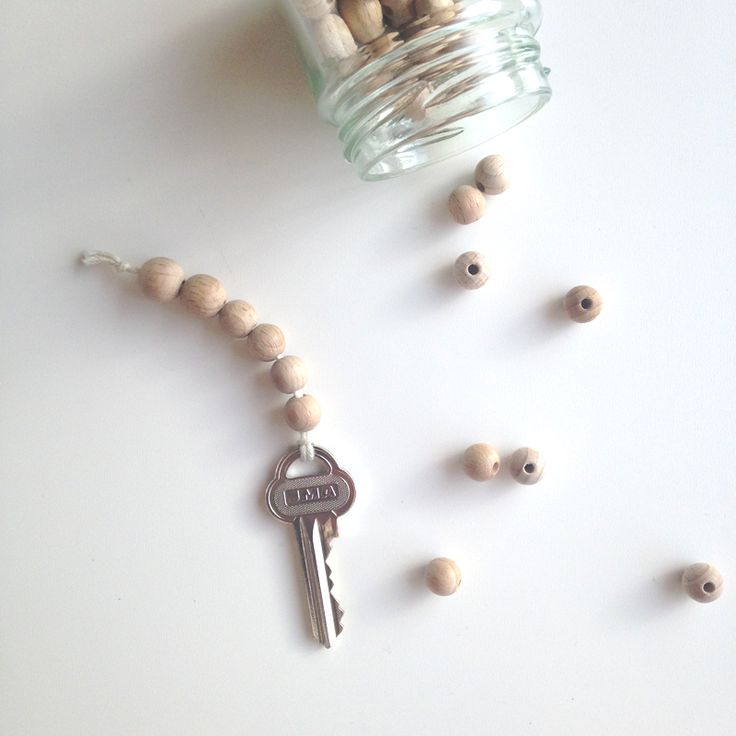 DIY wooden bead key chain ♥