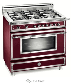 bertazzoni 36 inch gas range with 6 sealed burners cu european convection oven manual clean and storage drawer matte burgundy