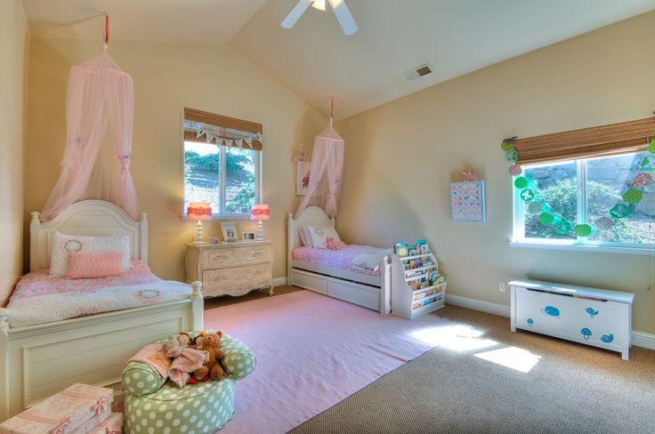 Traditional Kids Bedroom with Carpet, flush light, Ceiling fan, Cathedral ceiling