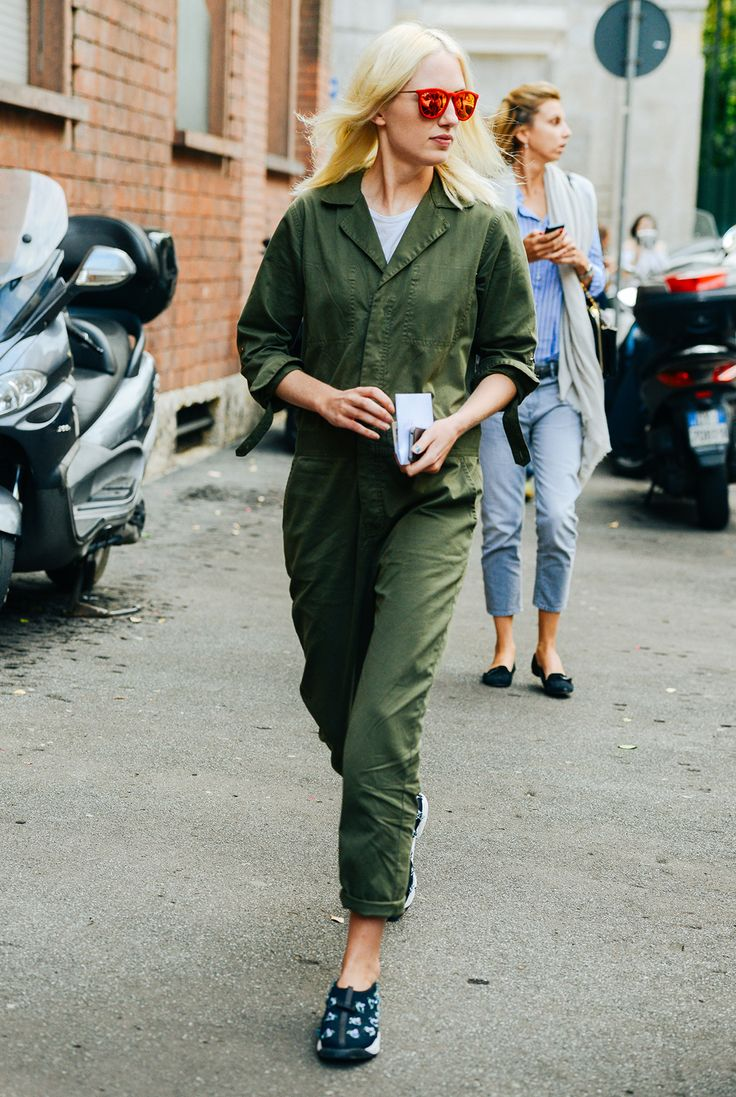 Say Ciao: Tommy Ton's in Milan Spring 2015 #jumpsuit