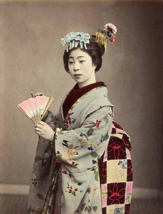 Retrato de uma gueixa, Japão, por volta de 1880. por Kusakabe Kimbei – Vintage Japa …   – Japan