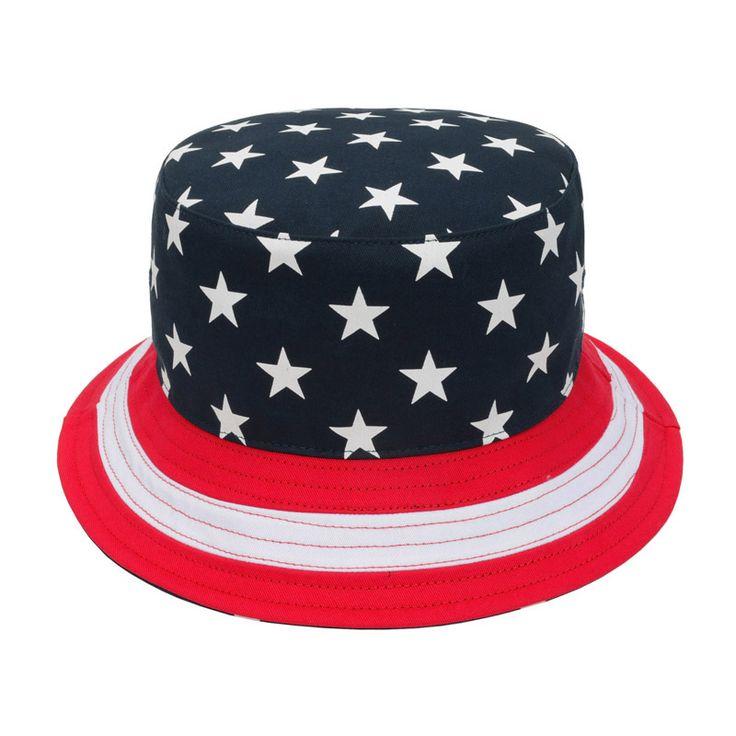 Navy & Red US Flag Stars Bucket Hat
